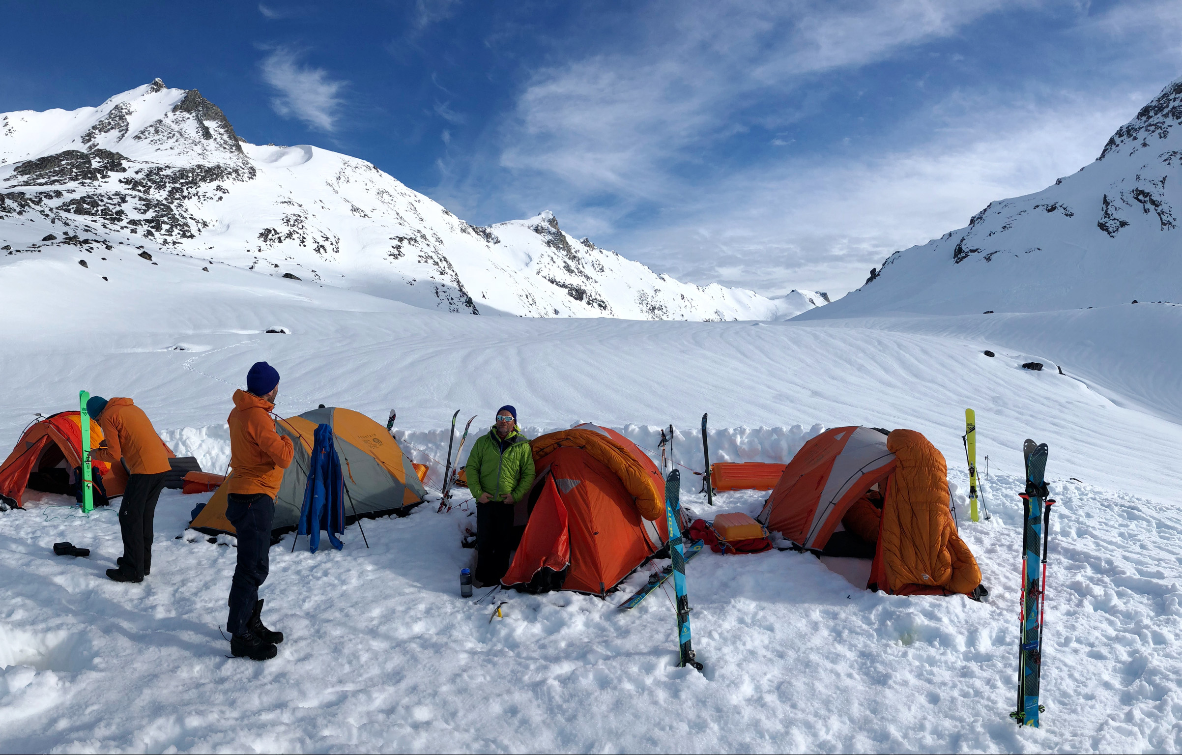 Base Camp: the team sets up camp on the snow. ©Andrew Denton